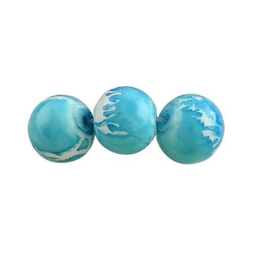 6mm Round Baking Beads Turquoise Speckled (30)